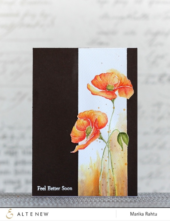 Stamps used: Painted Poppy with traditional watercolours