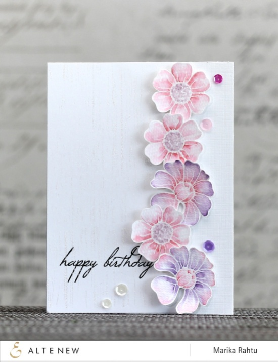 Stamps used: Florals Motifs and Birthday Greetings.