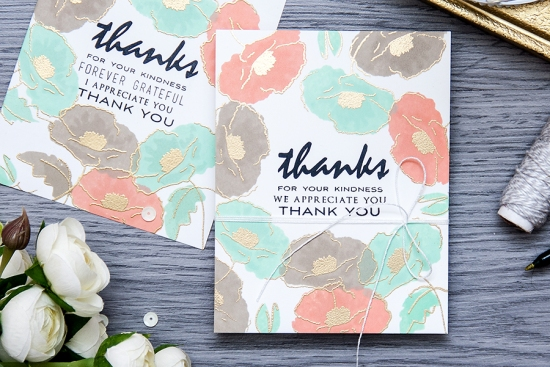 Yana Smakula | Video. One layer Thank You cards with Painted Poppy Altenwe